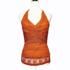 Coral crochet beaded halter top by Le Chateau